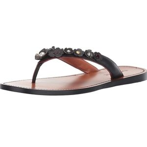 Coach Tea Rose Leather Sandals